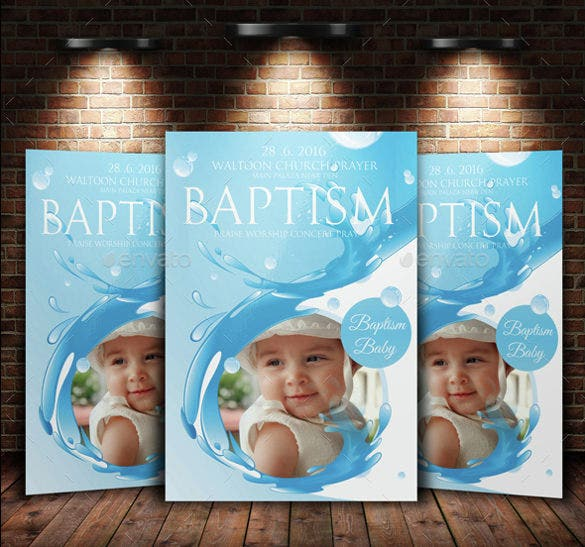 Baptism Sunday Church Flyer Invite Templates