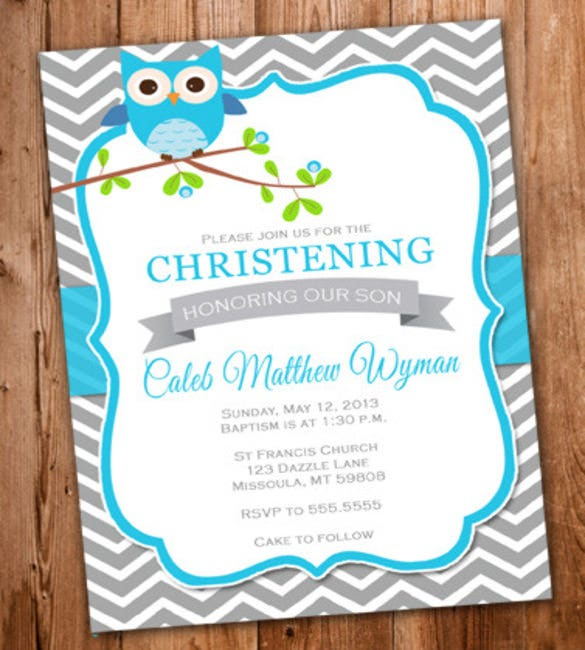 Boy Owl Christening Invitation