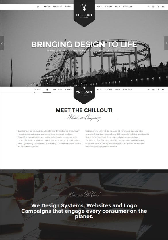 static parallax one page wordpress website theme