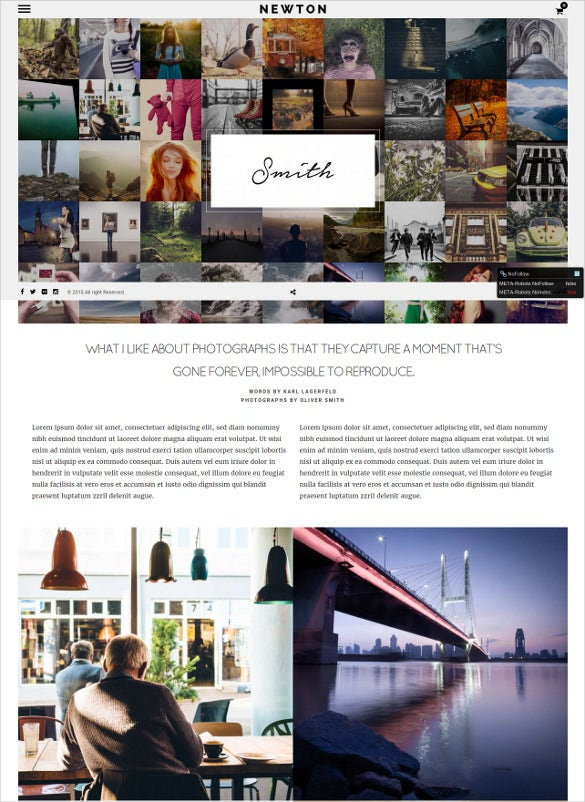 static creative photography responsive template