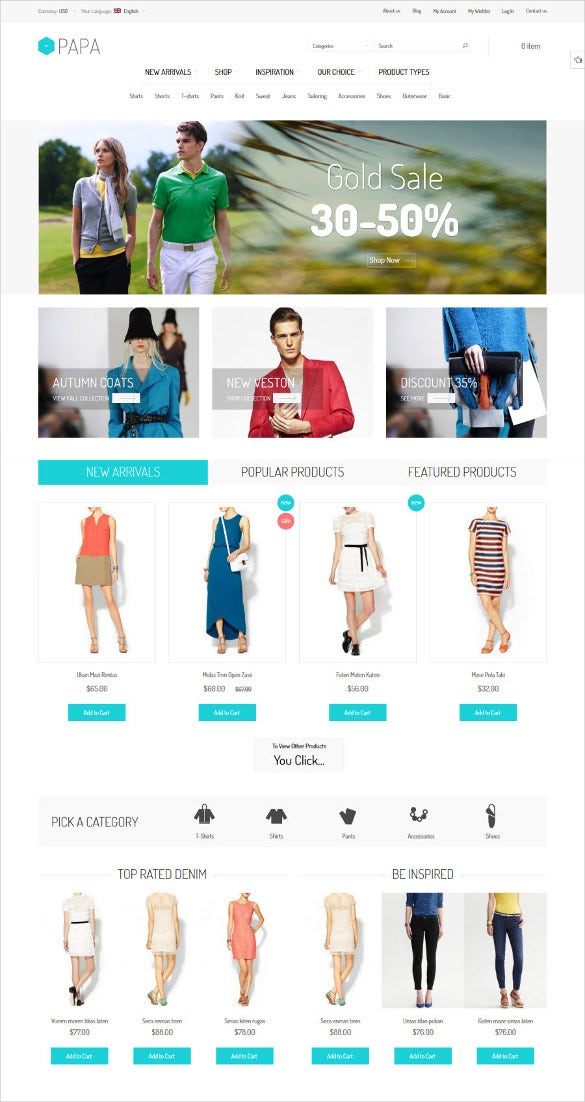 static responsive fashion magento theme