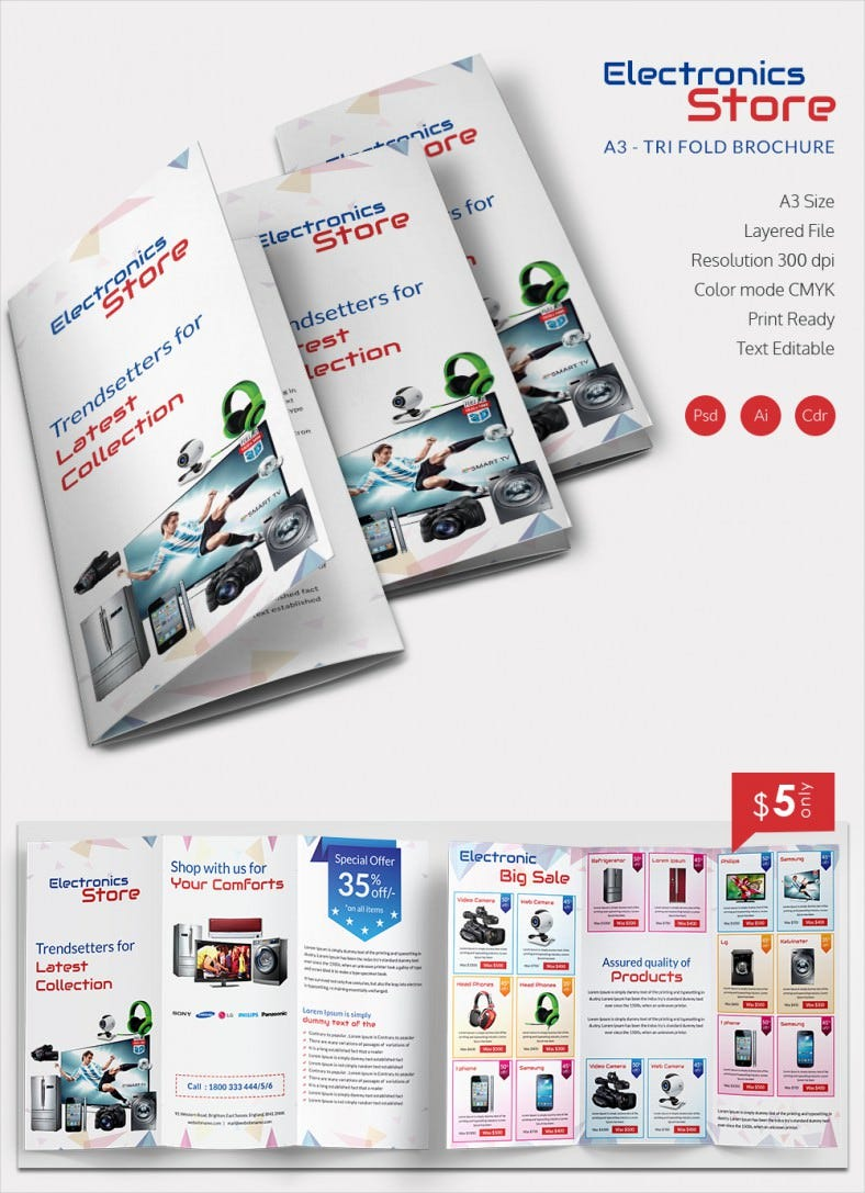 looking for a super attractive good quality brochure for your electronic store well we have the perfect collection of tri fold brochure templates that are