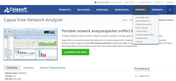 capsa free network analyzer tool download