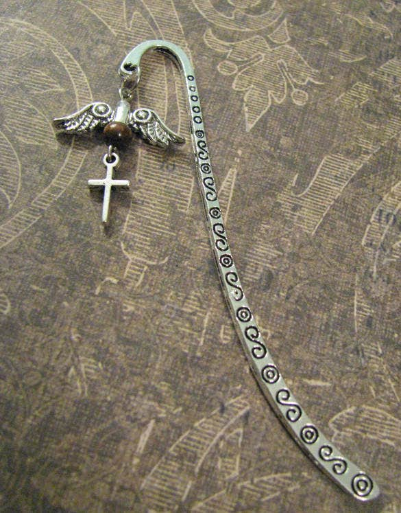 christian bookmark with silver angel wings