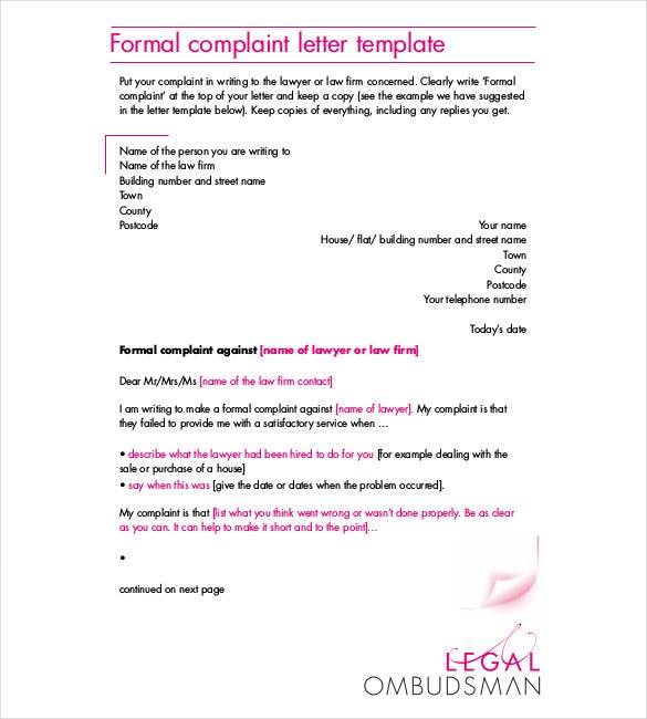 Formal Complaint Letter PDF Format Download  Formal Letter Template Download