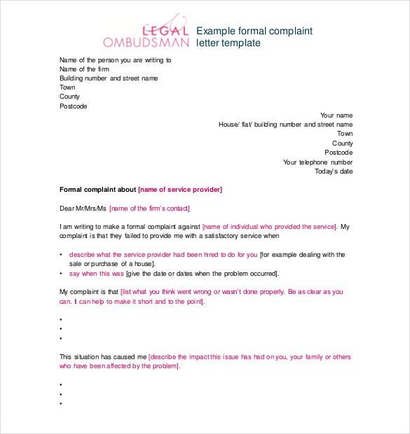 sample complaint letter against employee