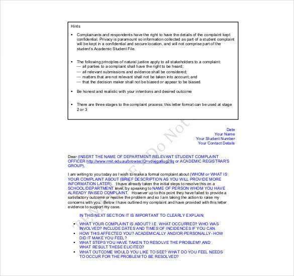 student complaint letter template
