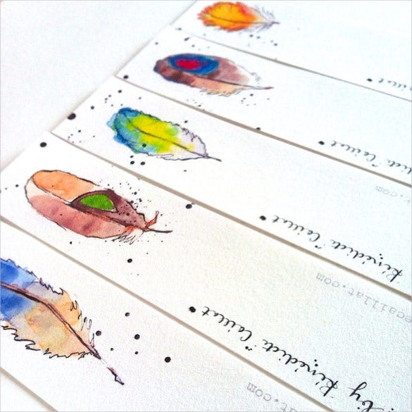 feather design bookmark templates