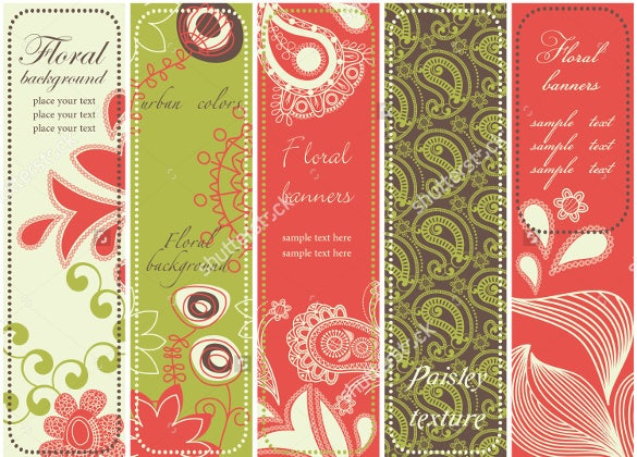 floral bookmark design template