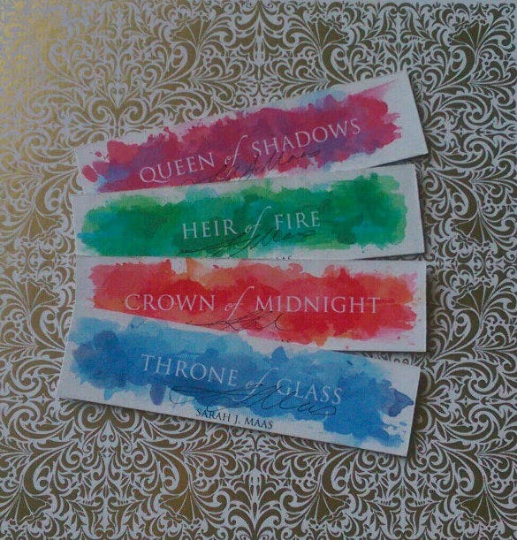 throne of glass series thick watercolour bookmark designs