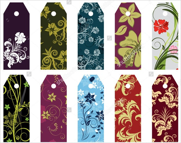 set of 10 folral bookmark template designs
