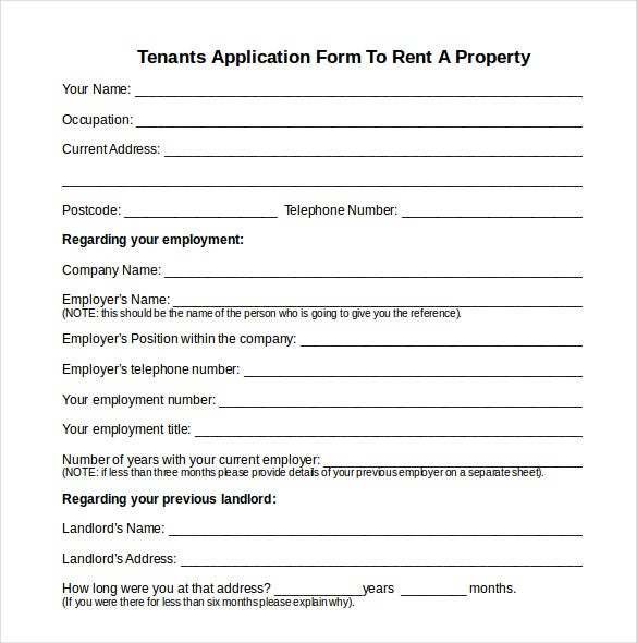 Tenant Information Form Printable Sample Tenant Information Form