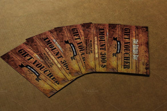 wooden style gift voucher example download