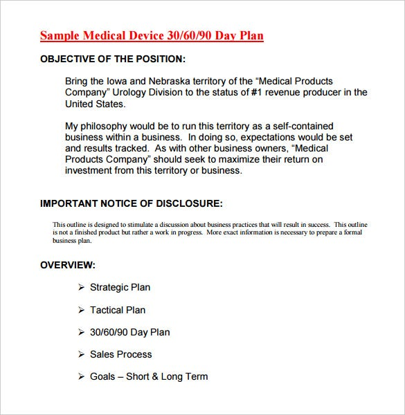 Printable Medical Device 30 60 90 Day Plan Template