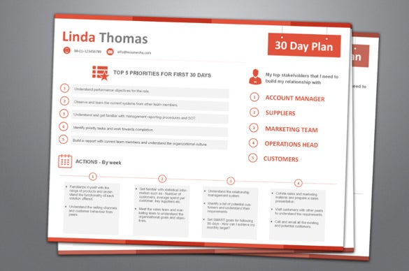 90 day action plan template sales