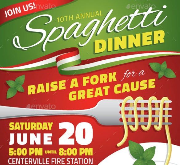 High Quality Spaghetti Dinner Fundraiser Event Flyer