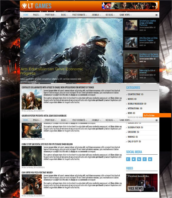 creative responsive game joomla template