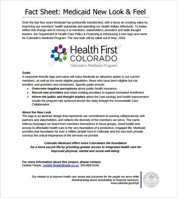 sample health first colorado fact sheet template free download