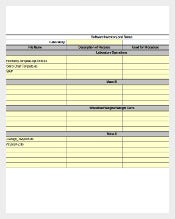 Excel Format of Server Software Inventory Template