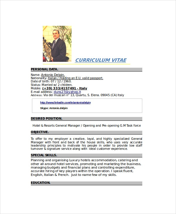 Catering Resume Template - 6+Free Word, Pdf Documents Download