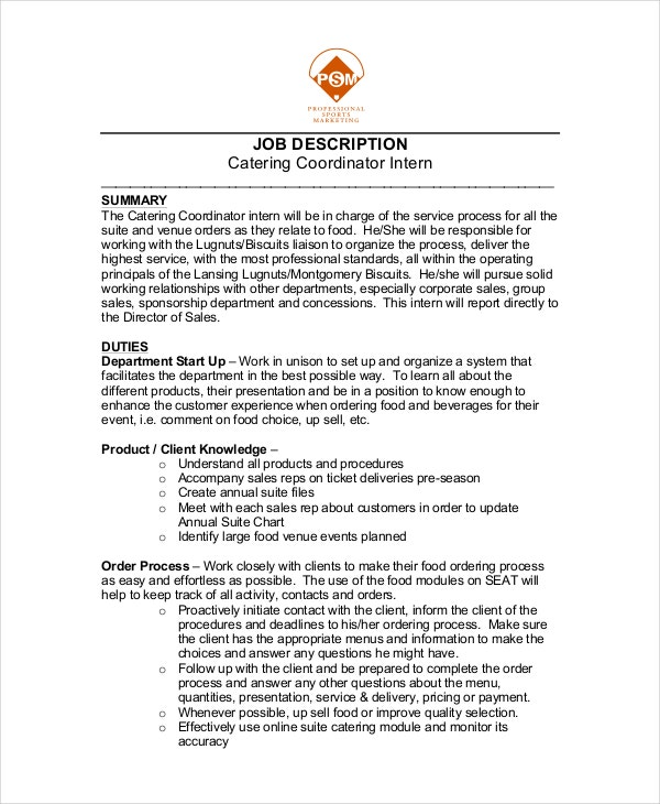 catering resume template 6 free word pdf documents