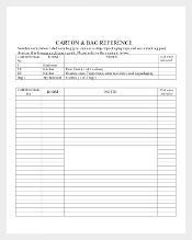Baggage Moving Inventory Template Download In PDF