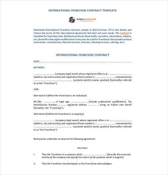 Franchise agreement template 10 free word pdf for International trade contract template