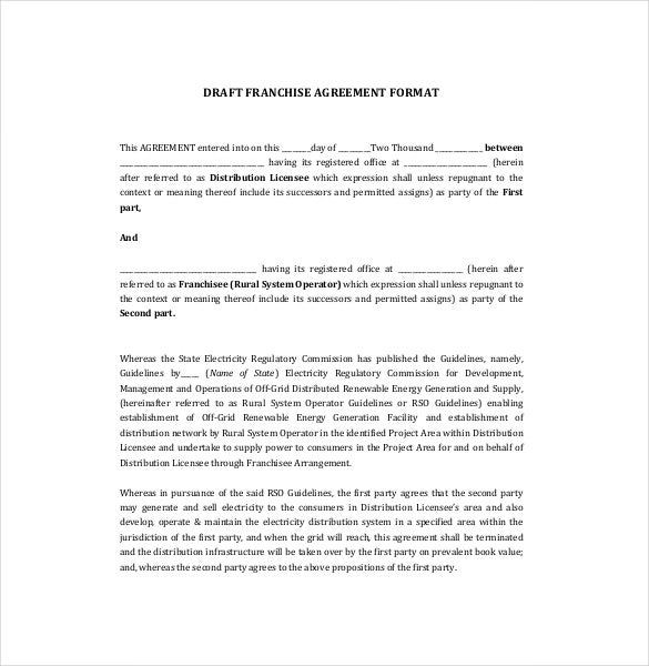 business franchise agreement template
