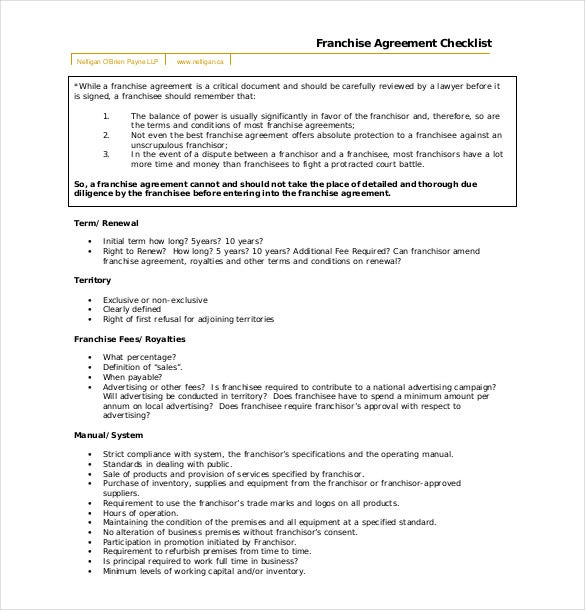 Franchise Agreement Template   Free Word Pdf Documents