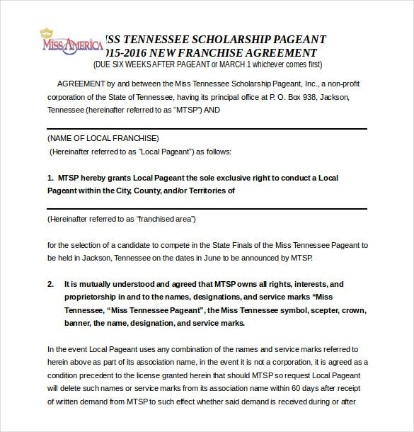 Scholarship Pageant Franchise Agreement Template Word Document Free Download