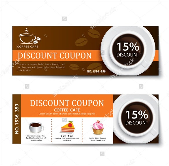 Format Coffee Coupon Discount Template Design  Coupon Layouts
