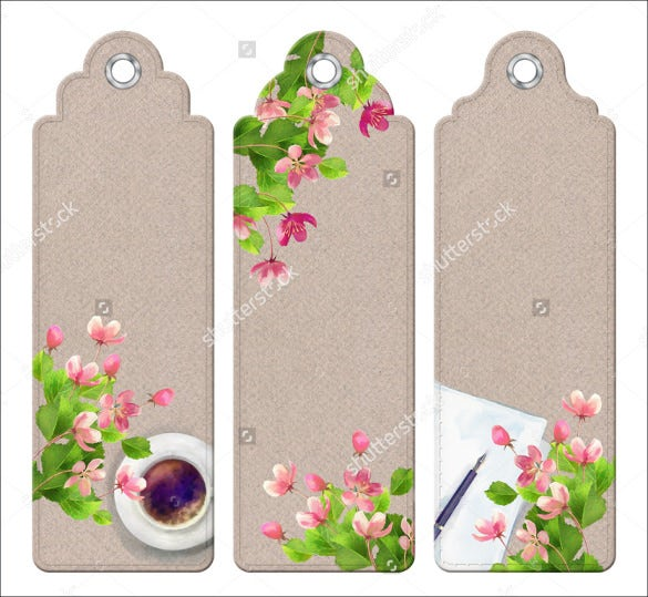 floral blank bookmark template download
