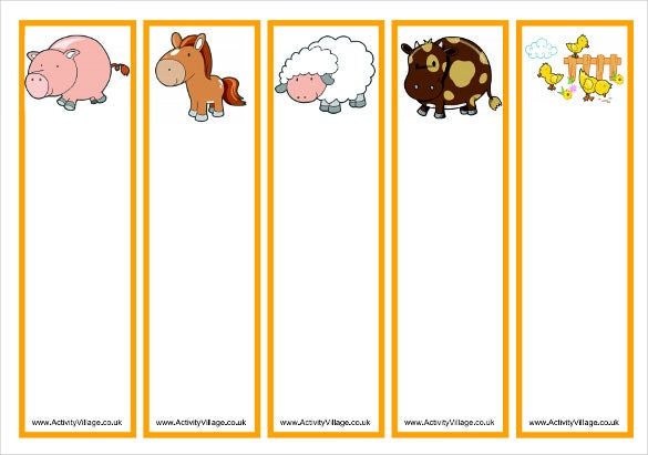 blank animal bookmark templates for kids