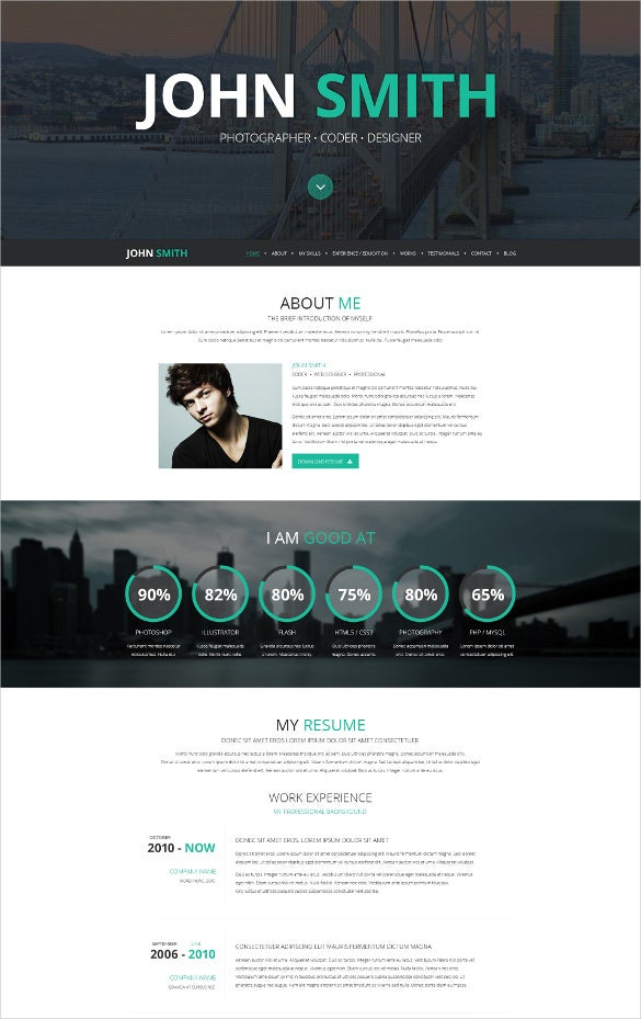 responsive online cv wordpress html5 website theme