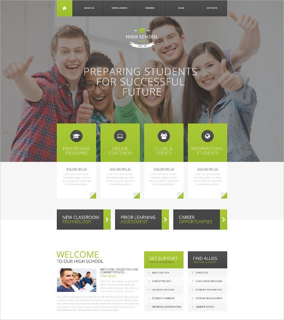 responsive school wordpress website theme