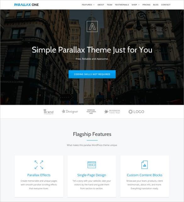free one page wordpress business theme