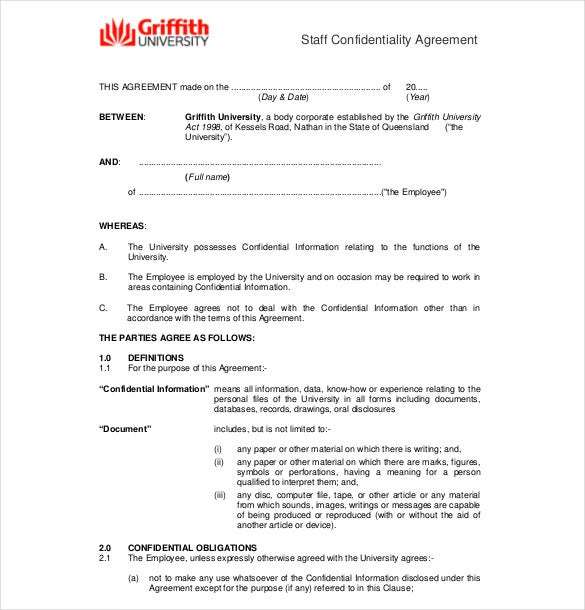 Confidentiality Agreement Templates – 8+ Free Word Documents