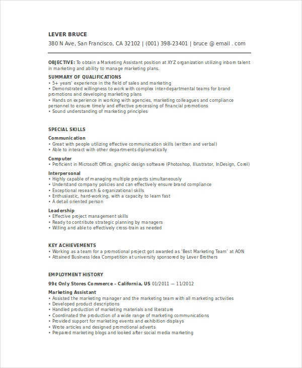 resume marketing coordinator position