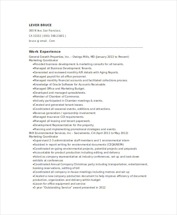 sales marketing coordinator resume template - Coordinator Resume