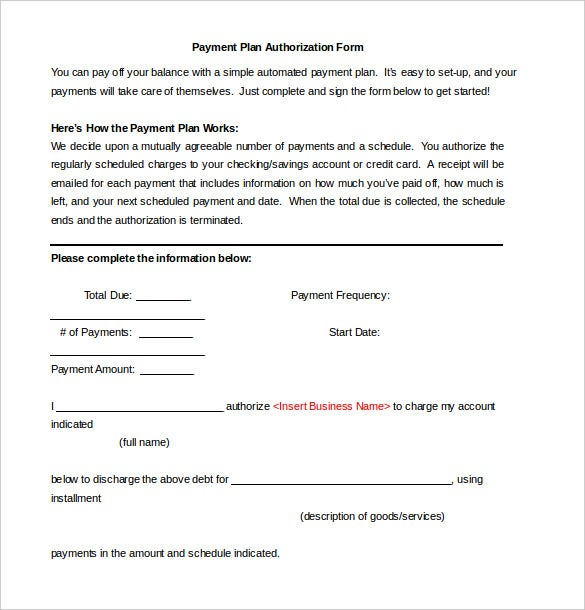 Payment Plan Authorization Form Free Download