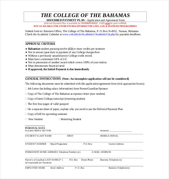Payment plan agreement template 12 free word pdf for Tuition contract template