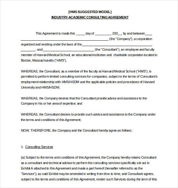 accademic consulting hr agreement template