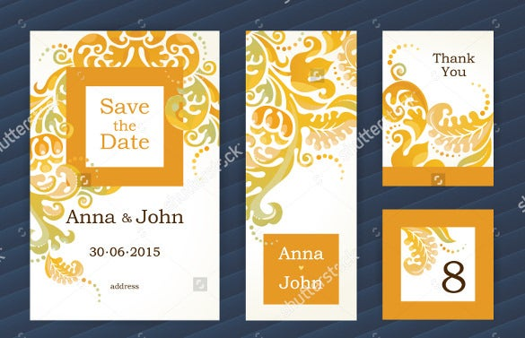 orange floral decor save the date bookmark template