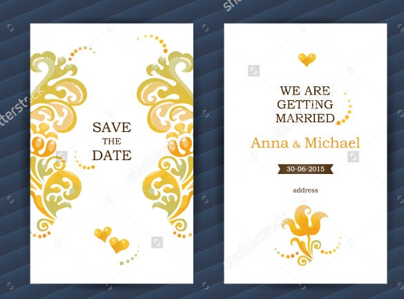 bright vintage ornate save the date bookmark