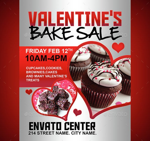 valentines bake sale flyer template
