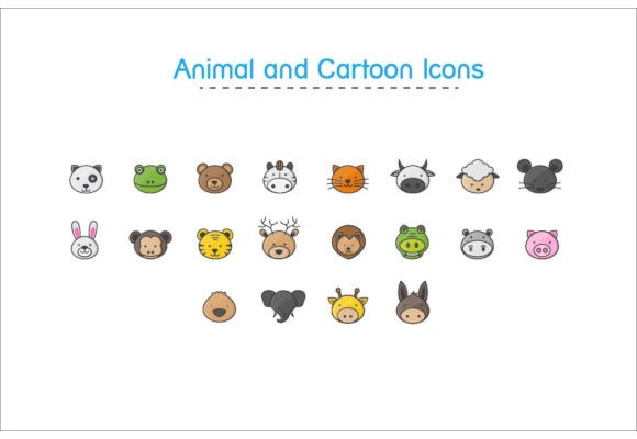 animal and cartoon icons