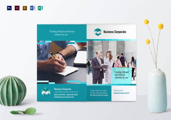 bi fold business corporate brochure design template