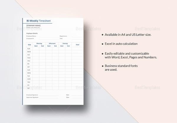 biweekly timesheet template