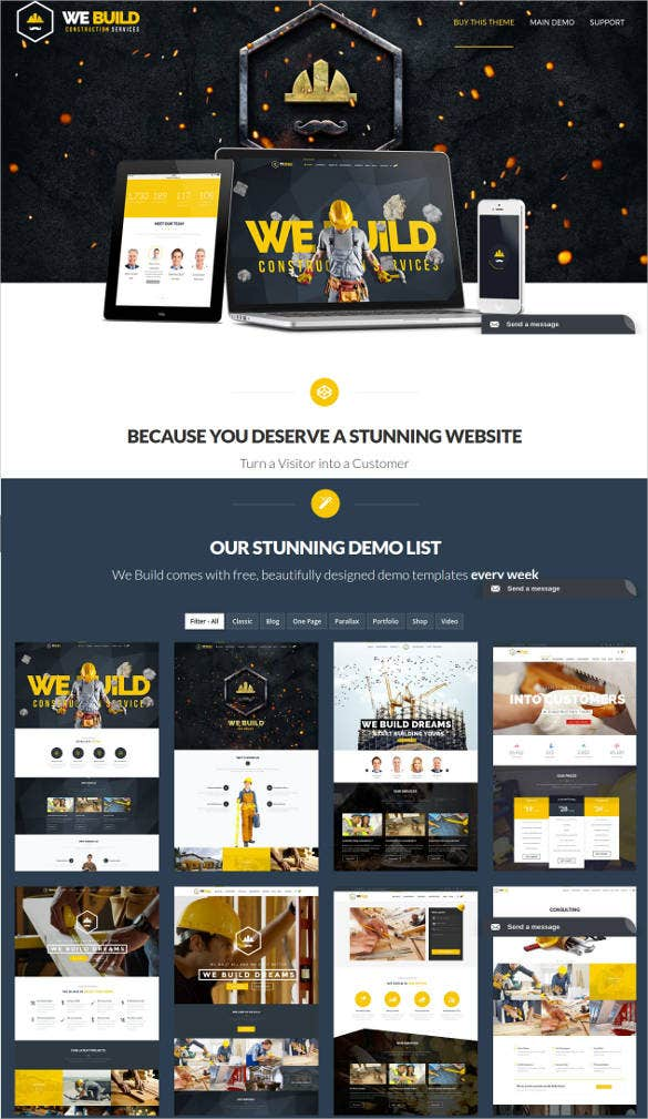 building construction html website template