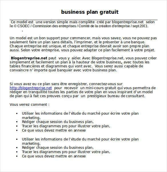 business plan gratuit word1